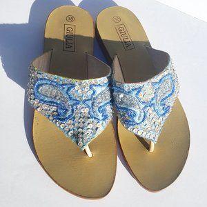 GIULIA Blue Paisley Sequins Flip Flops Sz 7.5